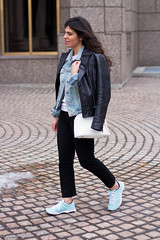 Leather jacket over denim jacket, mint green trainers-2.jpg (LyddieGal) Tags: blue winter white black fashion sweater outfit gap mint style trainers denim wardrobe tjmaxx leatherjacket denimjacket layered thrifted ccskye weekendstyle danielwellington monogramring