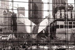 WTC Transportatoin Hub Construction (LJS74) Tags: nyc newyorkcity blackandwhite bw newyork monochrome construction manhattan worldtradecenter financialdistrict lowermanhattan splittone downtownmanhattan transportationhub
