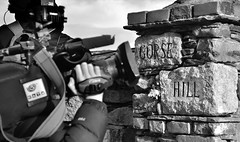 Siege of Gorse Hill - At The Gates (Owen J Fitzpatrick) Tags: road street camera ireland bw dublin white news black monochrome television stone wall canon outside photography mono j tv video high nikon media republic exterior post gates pavement candid name brian mary hill entrance property bank battle joe story crew agency definition use strap only granite editorial earphone hd shooter owen title dslr unposed press tamron patricia odonnell vico siege chasing fitzpatrick perimeter gorse standoff ext killiney ojf 18270mm d3100 ojfitzpatrick