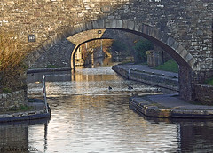 The canal at Brecon (Row 17) Tags: uk greatbritain bridge wales evening canal unitedkingdom bridges canals gb brecon waterway towpath waterways powys