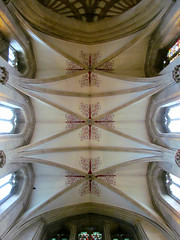Wells Cathedral - nave vault (pefkosmad) Tags: uk england church cathedral interior decoration wells somerset wellscathedral ceiling nave vault vaulting quadripartite