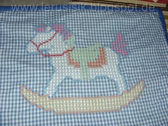 An old chicken scratch blanket (lerusisik) Tags: recycling plaids chickenscratch broderiesuisse