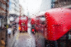 Abstract (Playing_with_light) Tags: street uk red england abstract bus london cars rain out droplets nikon focus day traffic double rainy londres impression blury d800 decker