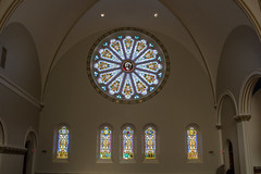 Rose Window in the West Transept (marylea) Tags: church painting catholic michigan annarbor catholicchurch restoration stthomas romancatholic repairs 2015 repainting washtenawcounty stthomasaa mar15 stthomastheapostlechurch dioceseoflansing stthomastheapostlecatholicchurch