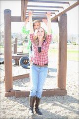 Practice (rbatina) Tags: school woman brown white cute girl face playground pose hair skinny outside outdoors model pretty little modeling young posing sunny jeans teen curly shit flannel denim practice brunette thin plaid teenage photogenic rubbertoe