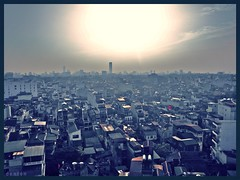 Hanoi Skyline (swampzoid) Tags: city sunset sky sun skyline purple vietnam hanoi bloated oldquarter exaggerated