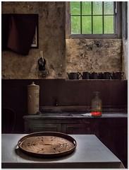 The tea room (Hugh Stanton) Tags: window table bottle sink pots cups tray tap cupboard