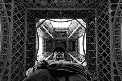 Eiffel tourist (polo.d) Tags: travel portrait people paris tower monochrome up point view perspective eiffel selfie