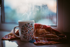 Lazy Saturday (katarri) Tags: sunset sun cup window floral rain 50mm droplets drops nikon afternoon cloudy tea drink bokeh weekend 14 beverage sunny drop twinings lazy rainy mug d750 droplet nikkor teatime goldenhour earlgray ladygray nikond750