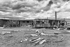 Trailer Carcass (autobahn66.com) Tags: california blackandwhite cloud abandoned decay surreal forgotten saltonsea