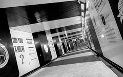 Did You Know? (DobingDesign) Tags: people blackandwhite london lines stripes text perspective streetphotography angles tunnel londonstreets