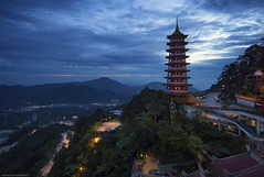 Chin Swee Temple At Blue Hour (GilbertChuaCS) Tags: world travel blue sky mountain cold building tourism nature landscape temple photography lights asia natural cloudy outdoor sony relaxing explore highland malaysia genting destination bluehour chin interest aasia pahang cpl nisi swee gnd samyang a6000