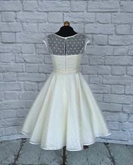 The Dotty Silk Dress (Ryley & Flynn Vintage) Tags: 1950s 50s tea length vintage short wedding dress gown silk organza