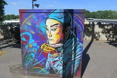 Portrait - Street art by C215 (Sokleine) Tags: street portrait streetart paris france electric artist colours box chinese makeup urbanart graff maquillage edf armoire artderue 75013 coffret c215
