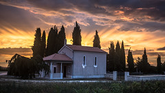Chapel of Kanfanar (DC P) Tags: chapel chapels church sun sunset tree trees backlight beautiful colors colorful god kanfanar croatia kroatie hrvatska summer natrure light lights red clouds cloud sky skyline night nightfall serene nature fantastic colour colours monument monumental world outside country orange holy cross beam