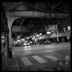 The Change In Your Pocket Won't Buy You A Dream (swanksalot) Tags: blackandwhite bw chicago cta wells wellsstreet undertheel hipstamatic blackeyssupergrainfilm lowylens