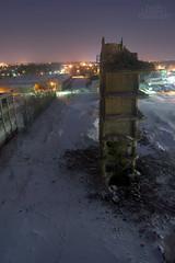 Slapping the Detectives (puddlejumper12) Tags: nightphotography winter brick demolish puddle photography decay demolition jumper sykes digitalphotography abaondoned sykesdatatronics