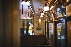 Hide and seek (Playing_with_light) Tags: old uk england london classic mannequin museum lady lights nikon transport tram seek hidding d800