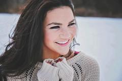 Mandi (Nikki Kate Photography) Tags: winter portrait snow beautiful smile hair photography explore brunette nikkikatephotography