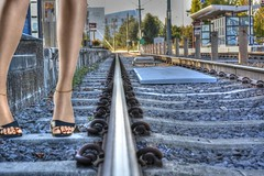 End of the Line (swong95765) Tags: railroad woman sexy station legs you perspective tracks bracelet ankle