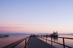 Tahoe Queen Sunset (fate atc) Tags: california pink sunset lake water still nevada whark zephyrcove tahoequeen southtahoe