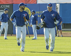 Bautista and Donaldson, in step on their way to the batting cage. (LottOnBaseball) Tags: toronto baseball bluejays dunedin jays bautista springtraining mlb donaldson josebautista joshdonaldson joeybats bringerofrain
