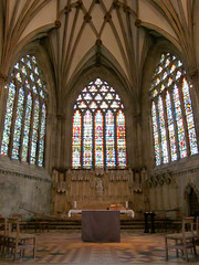 Wells Cathedral - Lady Chapel (pefkosmad) Tags: uk england church window worship cathedral religion gothic chapel wells somerset wellscathedral stainedglass medieval altar holy vault 1843 hallowed ladychapel eastwindow willement medievaltracery