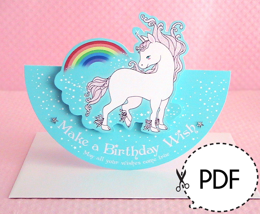 Unicorn Birthday Card JooSweetie Tags Up Paper Cards Diy Pop Goods Downloads