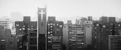 To Each Their Own Number (Doug Knisely) Tags: bw panorama mist misty fog buildings hotel nikon apartments cross pano taiwan shangrila flats numbers taipei 36 35 31 34 38 residences d600 70200f4