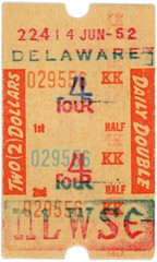 Delaware Horse Racing Ticket, 1952 (Alan Mays) Tags: old vintage paper de tickets ticketstubs typography antique racing double ephemera 1950s type horseracing delaware wilmington races fonts betting printed tote 1952 horseraces typefaces stubs delawarepark june14 racetracks wagers parimutuel totalizator delawareparkracetrack dailydouble totetickets totalisator horseracetickets parimutuelbetting horseracingtickets horseracingticketstubs wagertickets parimutueltickets