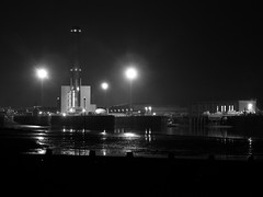 Night (adrianwoolgar) Tags: sea beach water night port dock sand quay groyne powerstation shoreham groin lockgate shorehampowerstation shorehamport brightonpowerstation