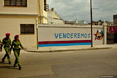Havana (Giannis Zarzonis) Tags: old city travel people color america vintage walking island holidays image country havana cuba police american latin tropical tropic caribbean cuban isolated venceremos