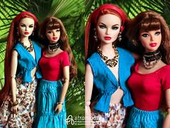 Nicole and Anelya (astramaore) Tags: flowers blue girls red green face fashion vintage toy necklace high doll nu erin blueeyes vinyl tshirt skirt palm redhead rufus 16 dynamite envy fulllips fashionroyalty