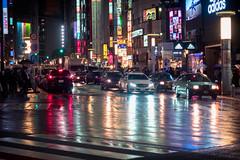 Rainy Night (Ted Tsang) Tags: street travel people car rain japan night umbrella reflections tokyo nightscape shibuya olympus     em1  109departmentstore 1240mmf28