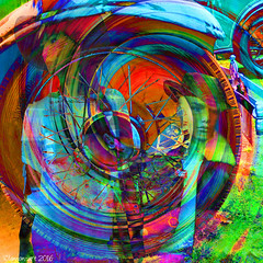The Distance Between Them (Lemon~art) Tags: travel colour texture mannequin car wheel turn away manipulation photomontage layers swirl distance closer apart separated