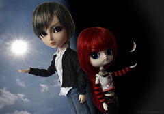 Duality (EternallyRose) Tags: sun moon clouds dolls space blueeyes dal siblings astrophotography sunburst duality icarus outerspace redhair sidebyside vignette aga gyro grayhair browneye cresentmoon sunandmoon selectiontool spacethefinalfrontier dollphotography brightredhair taeyang arsgratiaartis grayeye combinedphotos dualcoloredeyes editingtechnique grooveinc waxingcresentmoon pullipanddaldollloversevent taeyanggyro corelpaintshopprox7 nikond750 afsnikkor24120mmf4gedvrlens taeyangsteampunkprojectgyro puddle2016 puddle2016photoandartcontest dalicarus dalsteampunkeclipseicarus darklightvignette taeyanganddals10thanniversary