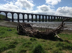 Raft on River Tweed Estuary & Royal Border Bridge (andreboeni) Tags: bridge castle river border ruin royal estuary viaduct northumberland raft berwick tweed berwickupontweed