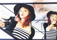 Mourning Warning (Auteurian) Tags: mirror selfportrait montage multiple exposure portrait fashion asian female redhair hat