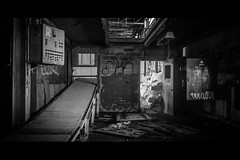 Butchered (KaylorCoons) Tags: blackandwhite white canada black abandoned monochrome night belt factory neglected dirty meat butcher scum sk regina saskatchewan conveyor derelict deserted scummy grungy ignored