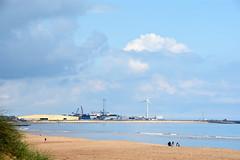 View towards the harbour (DavidWF2009) Tags: sea beach sand harbour northumberland windturbine blyth