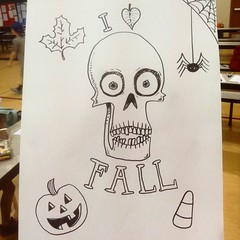 I  FALL (the ghost in you) Tags: fall halloween skull skeleton horror candycorn pumpkin jackolantern trickortreat spider doodle kids autumn
