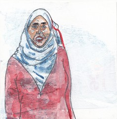# 187 (05-07-2016) (h e r m a n) Tags: herman illustratie tekening bock oosterhout zwembad 10x10cm 3651tekenevent tegeltje drawing illustration karton carton cardboard vrouw woman hoofddoek headscarve portrait portret