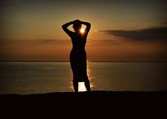 Don't let the Sun go down on Me... (Harleynik Rides Again.) Tags: sundown sunset woman silouette sea portlandbill dorset orange glamour nikondf harleynikridesagain