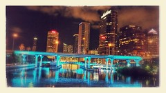 Blue Nights (edit) (Michel Curi) Tags: downtown urban tampa lovefl fl florida night nighttime water hillsborough reflections lights buildings edificios structures estructuras arquitectura architecture city ciudad blue