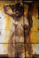 Murales (Giulio Buonomini) Tags: murales street art writers graffiti muro rome roma disegni peint pittura colors colori giallo nude woman donna