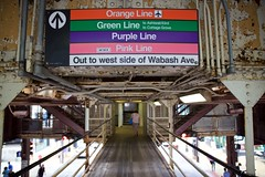 Rainbow Road (cookedphotos) Tags: travel pink summer orange chicago color green tourism colors canon subway typography rainbow sticker cta purple streetphotography walkway ltrain arrow wabash dontgiveup 5dmarkii