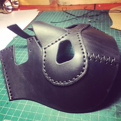 Work in progress. Wrestling mask for a german fighter. #Cyberpunk #CyberGoth #postapocalyptic #postapocalypse #steampunk #steampunkmask #leathermask #handmade #LARP #dieselpunk #leather #Darkart #costume #burningman #costume (tovlade) Tags: black girl face make up leather punk hand mask goth goggles made doctor cyber cybergoth cyberpunk plague larp steampunk postapocalyptic postapocalypse dieselpunk