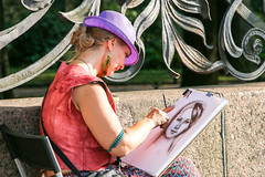 A portrait painter in Saint Petersburg, Russia (travelingmipo) Tags: travel portrait people woman photo europe artist russia drawing painter saintpetersburg russian  leningrad 2014