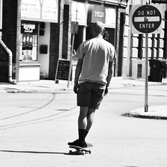 Skate, New London CT (asw12681photo) Tags: street urban blackandwhite bw white black photography blackwhite nikon raw candid streetphotography gritty selftaught skate skateboard skater bnw candidphotography nikond3000