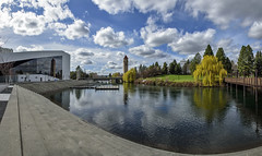 Expo '74 - 41 years later (acase1968) Tags: park railroad bridge sky panorama canada clouds photoshop river lens island washington nikon spokane waterfront cloudy great sunny clocktower d750 depot photomerge riverfront nikkor northern storms vr afs between partly f4g 24120mm cs6 5photo